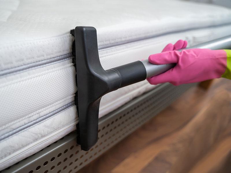 Hands vacuuming side of mattress
