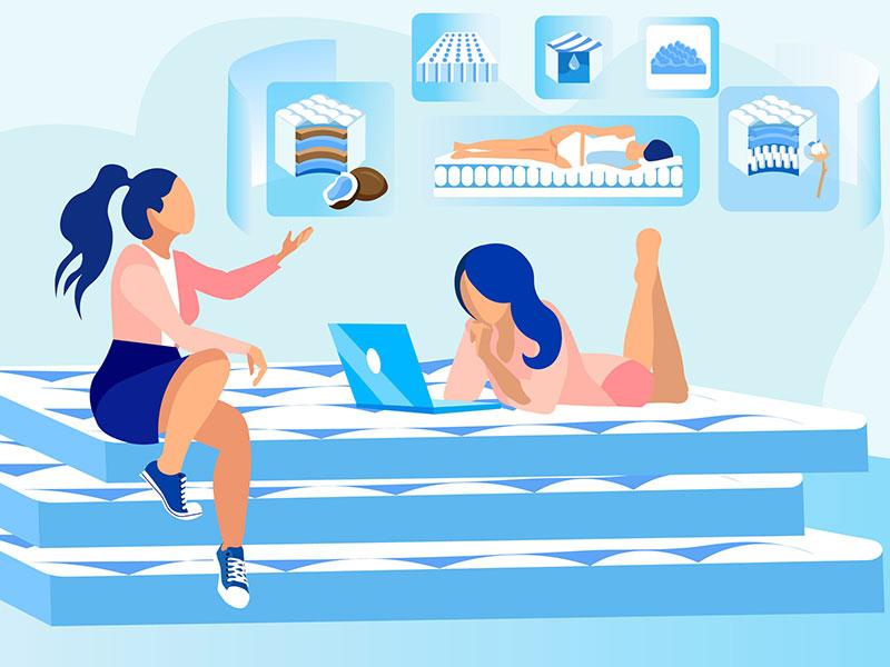 Sales Representative Promoting Orthopedic Mattress illustration