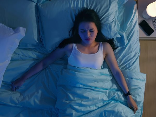 Overhead View of asian woman suffered from insomnia at night