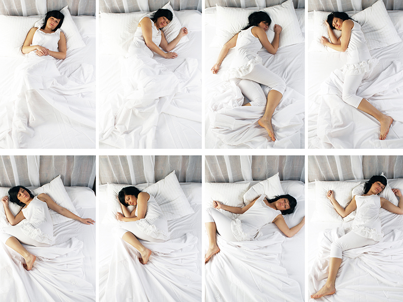 Woman in many sleep positions